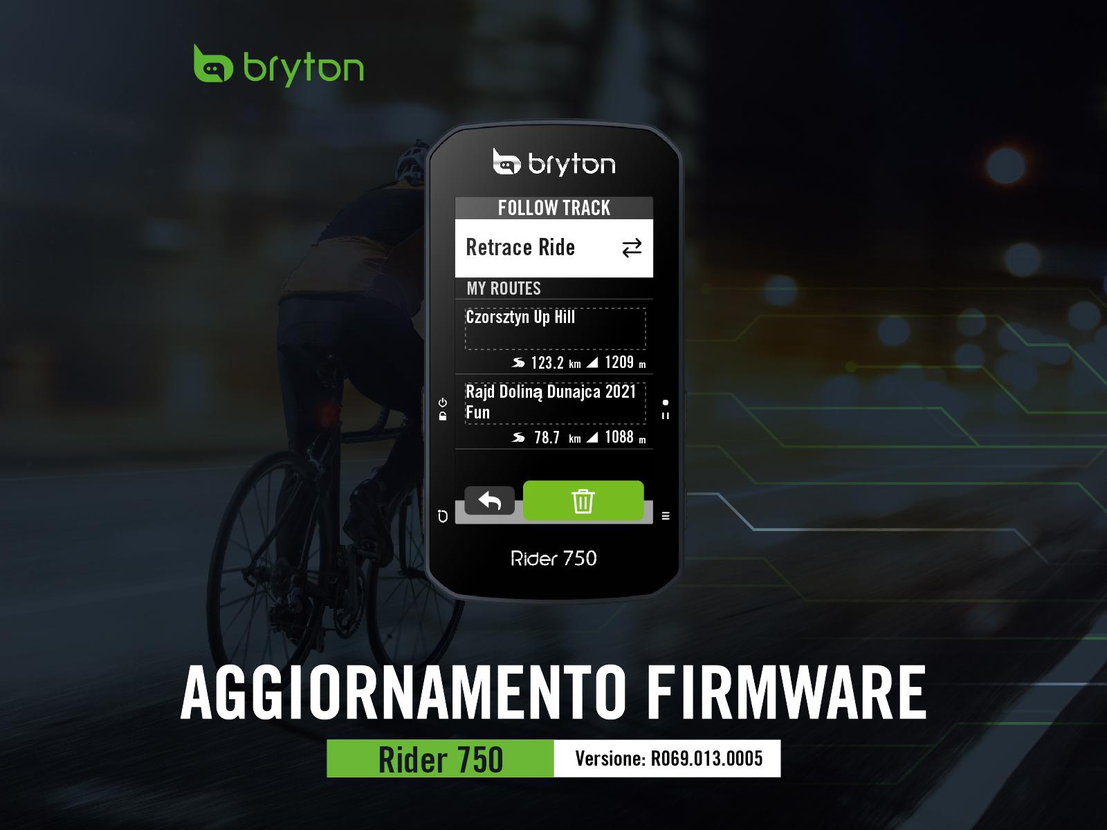 Rider 750 aggiornamento firmware
